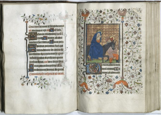 A full-page miniature showing the flight of the Holy Family into Egypt.