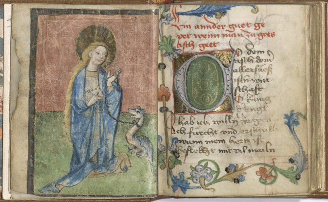 The style and manner of decoration in this late 15th-century German book of hours suggests a less bespoke approach to decoration and overall production. Here, St. Margaret with a dragon at the beginning of the Hours of the Virgin.