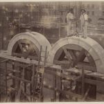 Granite arches assembled over frames taken from scaffolding in Boyston Street entrance room toward Dartmouth Street side of the Courtyard. Photo No. 67 by Edward Stevens, Clerk of Works.