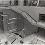 View of Boston Public Library Johnson building atrium during construction, March 1972