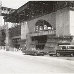 Boston Public Library Johnson building construction, exterior walls partially complete, April 1971