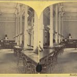 Stereograph of the Reading Room at the Boston Public Library at 55 Boylston Street