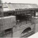 Boston Public Library Johnson building construction, exterior walls partially complete, June 1971