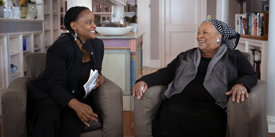 Image of Toni Morrison being interviewed by a woman.