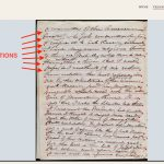 In this screenshot you can see an image of a handwritten document. Each line of text on the document has been underlined in red, with red dots to mark the beginning and end of the lines. The lines indicate that there are annotations available for them.
