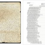 This is two images placed side by side for comparison. The left side of the image shows a digitized letter with lines drawn under the text, indicating annotations. The dots in this image are blue, and they are darker on the left side than the right, which means that the left side was the starting point for the annotation. On the right of the image, you can see the typed transcriptions, clustered by lines and segmented by word. The transcriptions are aligned vertically, with individual boxes drawn around each word in the text for easy comparison. The transcription grouping in this document is aligned to the left because it was annotated from left to right.