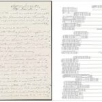 In this image on the left side of the image is a digitized handwritten document. Under some line sof written text there are two lines: one with the dark dot on the left, and the other with the dark dot on the right. On the right side of this image is the transcriptions. The annotations made starting from the right side of the page are on the right side of this image, but they are also upside-down. The text on the left side appears correctly oriented.