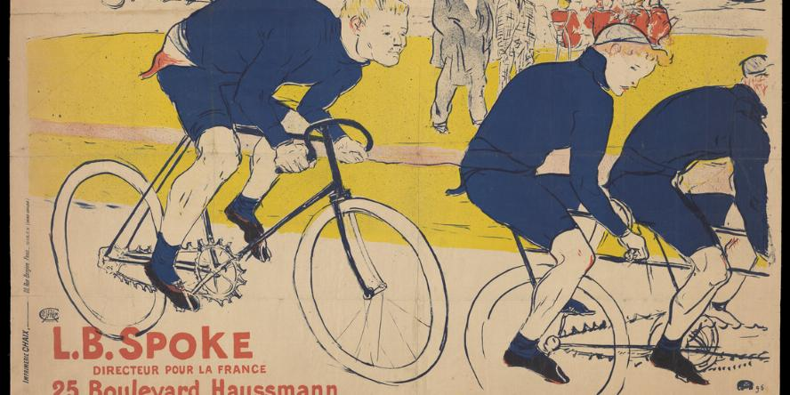 "Image of three people on bicycles, with many people on bicycles in the foreground. There is a large group of people on biclcyes in the background. The text on the image reads, ""La Chaîne Simpson. L.B. Spoke Directeur Pour La France. 25, Boulevard Haussmann."""