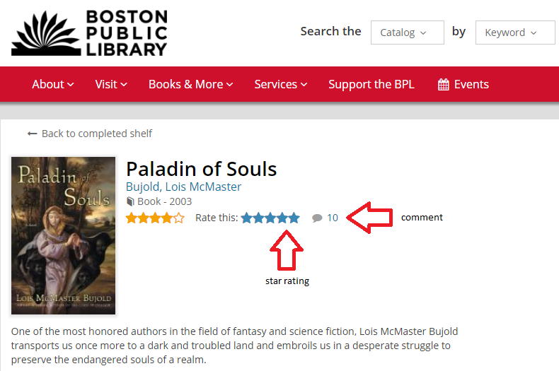 "screen capture of the record for Paladin of Souls in the library catalog, with arrows pointing to the ""rate this"" and ""comment"" features"