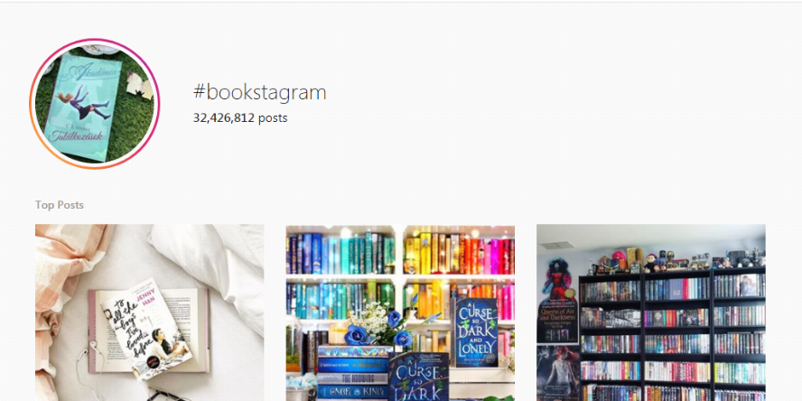 A screenshot of popular posts tagged with the hashtag #bookstagram on the social media site Instagram.com