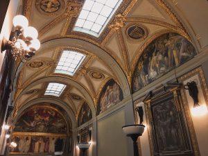 Skylights illuminate the vaulted Sargent Gallery.