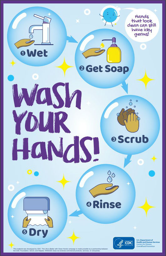 Hands that look clean can still have icky germs! Wash your Hands! Steps: 1. Wet 2. Get Soap 3. Scrub 4. Rinse 5. Dry