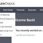 """Image of the """"Estate"""" section of the LawDepot main navigation. The drop down menu has the following items listed in this order: """"Power of Attorney, Last Will and Testament, Living Will, Health Care Directive, Revocable Living Trust, More>>>."""""""