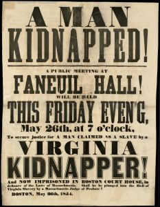Broadside publicizing the arrest of the fugitive slave Anthony Burns
