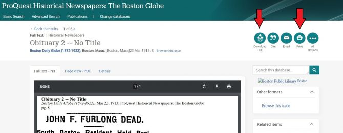 Image of article in Boston Globe database, with arrows pointing out where to click in order to save or print the article.