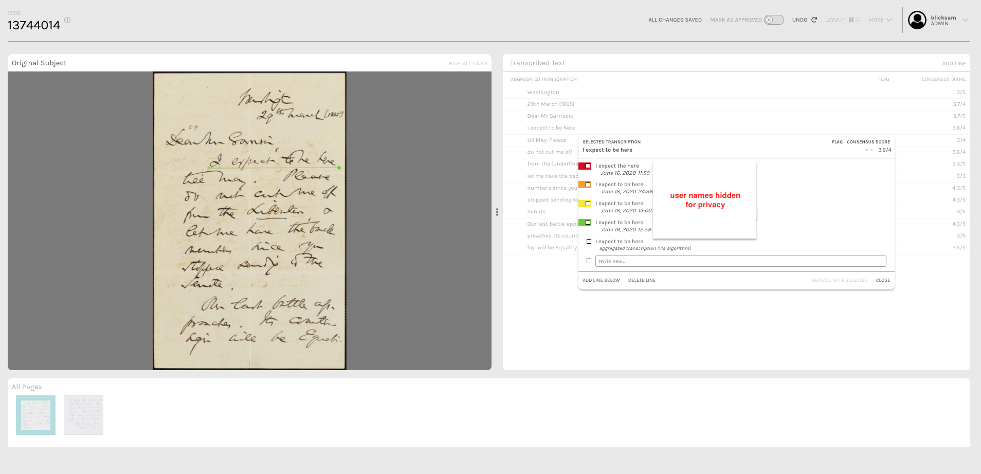 This image builds on the image above. On the left is a handwritten document with a green line underneath a specific line of text. On the right, in the background, is a line by line transcription of the document. However, one line is selected (the one with the green underline) and in the foreground on the right, there is a popup with a list of different transcriptions of that line as well as the dates they were submitted.