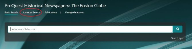 Image of Boston Globe database main page, with circle showing where to click to get to the Advanced Search page.