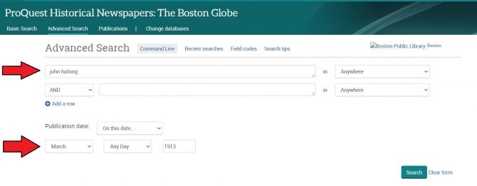 Image of Advanced Search page in Boston Globe database, with arrows pointing out where to type in search terms and select a date to search.