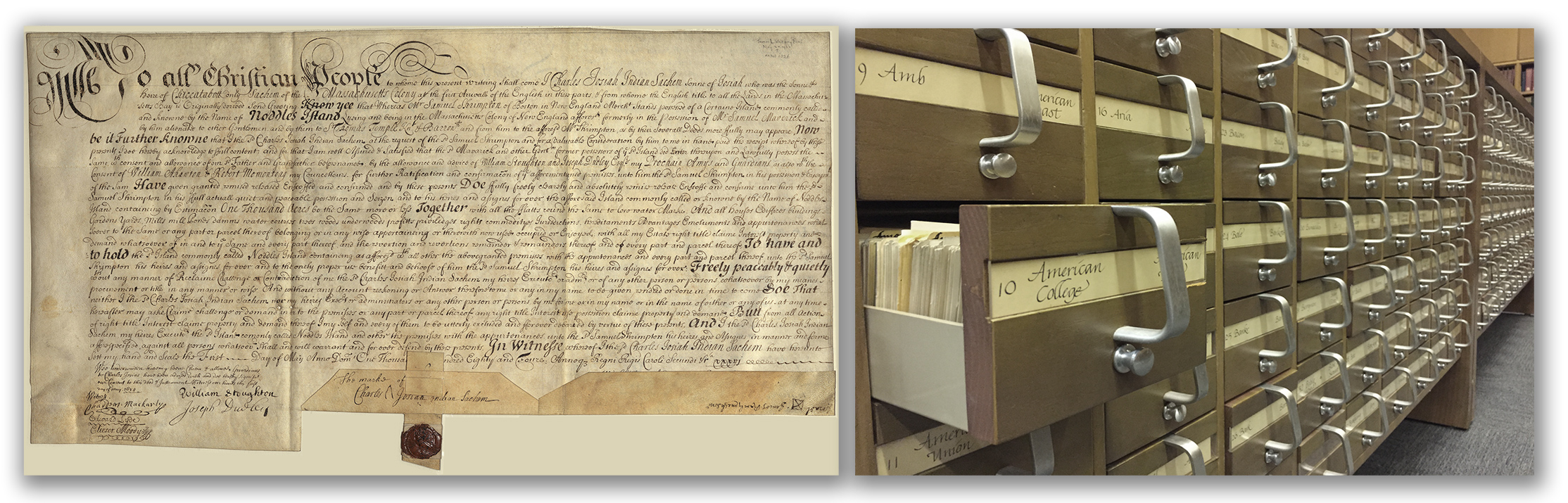 Above left, the 1684 deed to East Boston, from Charles Josiah Wompatuck to Samuel Shrimpton; above right, the BPL catalog card file, which, until this project, was the only available tool for locating it