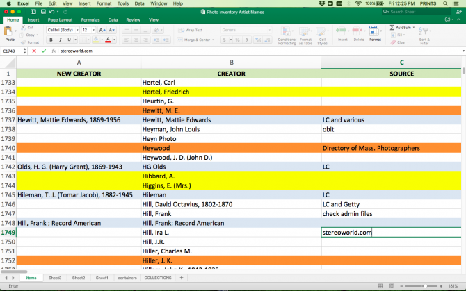 Excel spreadsheet displaying columns labeled New Creator, Creator, and Source. Several rows are highlighted in yellow, orange, and gray.