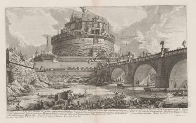 View of the bridge and mausoleum built by the Emperor Hadrian, print by Giovanni Battista Piranesi