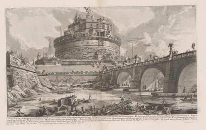 View of the bridge and mausoleum built by the Emperor Hadrian, print by Giovanni Battista Piranesi