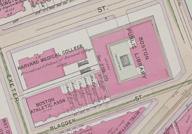 Map depicting Harvard Medical College adjacent to the Boston Public Library's McKim building