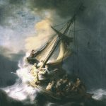 the paintings shows the height of a violent storm. Dark clouds glower above, high waves are lashing the boat, the wind has already torn the mainsail in half. We almost can't tell the waves from the rocks against which the small vessel seems about to founder. Jesus and his disciples are in the boat. Some of them are in a state of panic. Some of them are working to hold the boat together. One is leaning over the side of the boat, about to vomit. One of them is staring out directly at the viewer, holding onto his cap with one hand and onto a rope with the other. One of the disciples has Rembrandt's face
