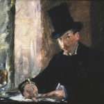 A man wearing a black voat and a top hat is sitting in a cafe next to a window. He is writing something and one of his eyes is looking at the viewer