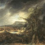the painting shows a dark and stormy day with a streak of sunlight. In the background there is a large obelisk.