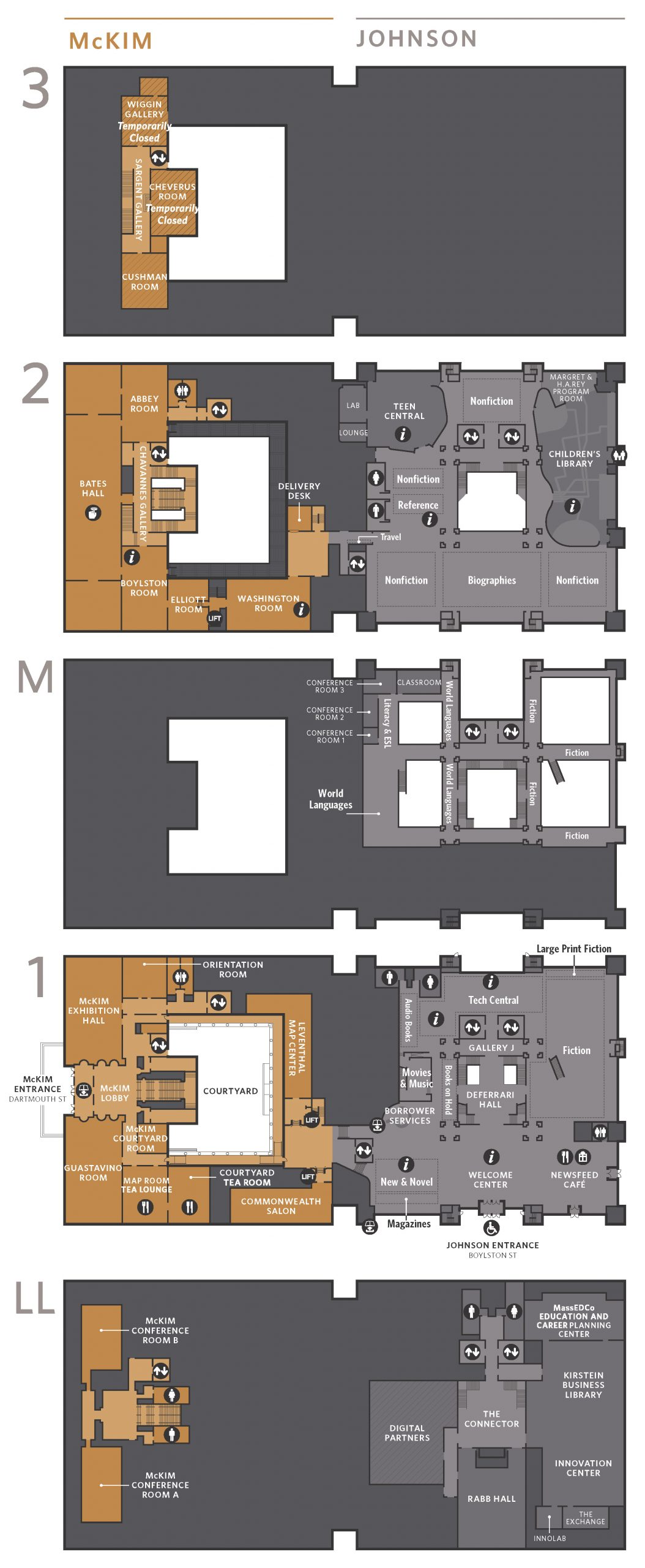 This map shows the lower level, the first floor, the second floor, and third floor of the johnson and Mckim buildings. A more accessible PDF is linked in the page above.
