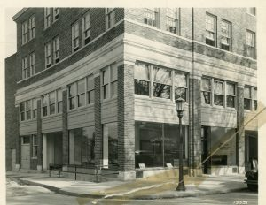 Building at Grand River and Evergreen, date unknown