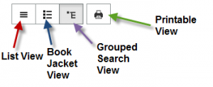 Four buttons at the top of search results that allow users to choose between four different catalog views. List View, Book Jacket View, Grouped Search View and Printable View