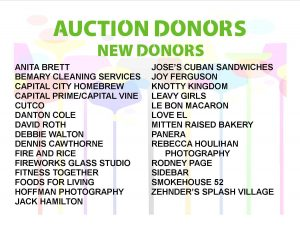 Books, Bites, and Bids 2018 Silent Auction Donors, New This Year