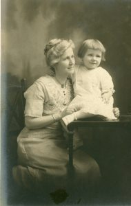 Photograph of Ruth Ryder and her mother, dated 1914 or 1915.