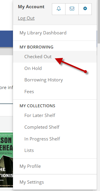 My Library Dashboard drop down menu in library catalog