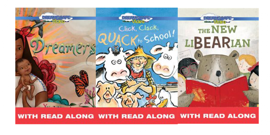 Read Along titles from hoopla including Dreamers, The New Libearian and Quack to School