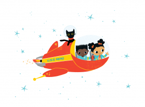 Two children and a cat riding in a spaceship