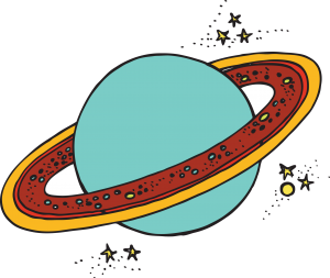 Drawing of a ringed planet