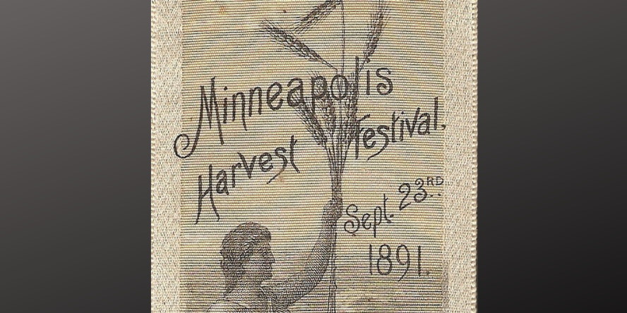 Fabric bookmark for sale on the Friends Etsy store which reads Minneapolis Harvest Festival, September 23rd 1891