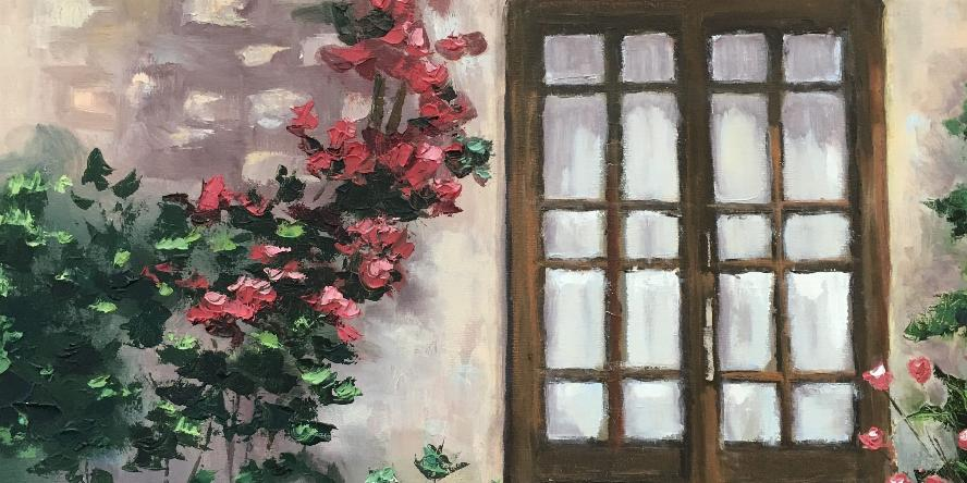 Painting titled Climbing Roses by artist Mary Jobin. Oil on canvas.