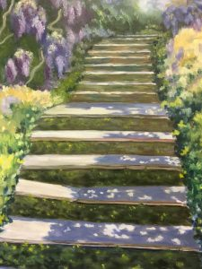 Painting titled Garden Stairway by artist Mary Jobin. Oil on canvas.