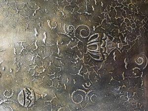 Baloon Fiesta by artist Yvette Robinson. Metallic Acrylics, Plaster Relief on Canvas