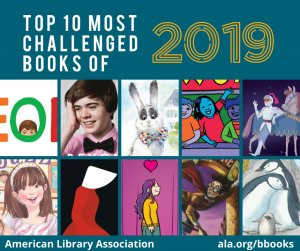 """Top 10 most challenged books of 2019."" Image of the the ten book covers."