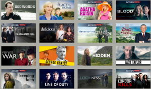 Thumbnail images of some of the many TV series offered on the Acorn TV service available at ELPL