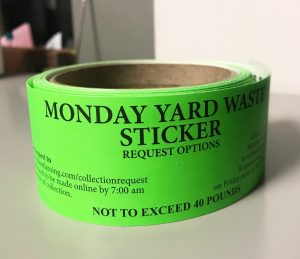 A picture of City of East Lansing yard waste stickers