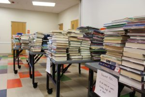 Books waiting to be checked in and shelved at ELPL