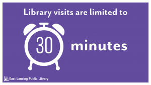 A clock icon with the text library visits are limited to 30 minutes