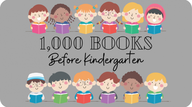 1,000 Books Before Kindergarten logo, with illustration of diverse children reading books