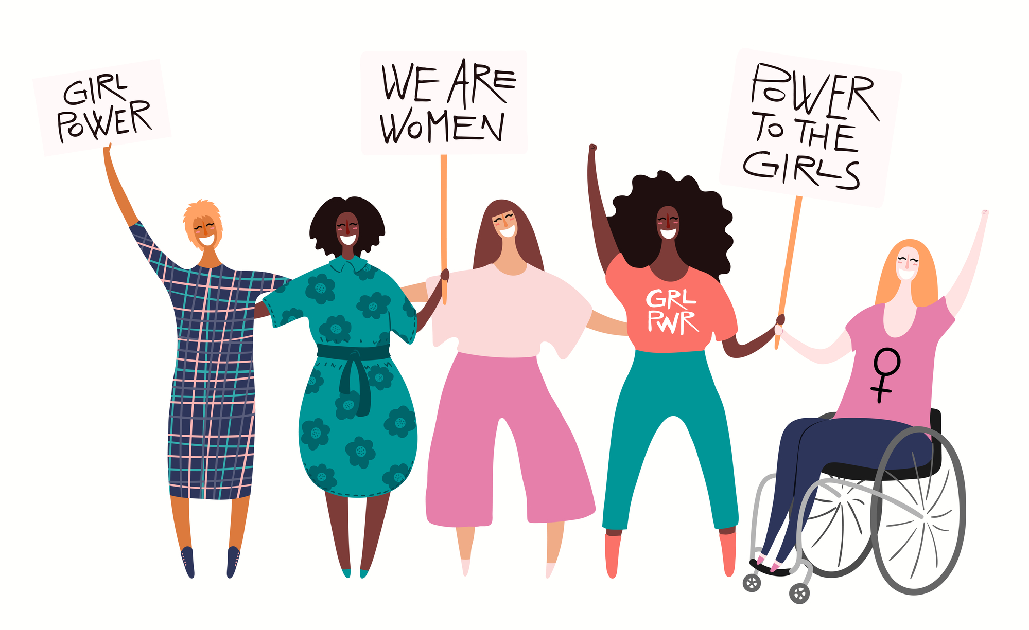 Diverse women group, woman in a wheelchair on a protest, holding different placards, banners with copy space. Hand drawn vector illustration, isolated on white. Flat style design. Concept for feminism